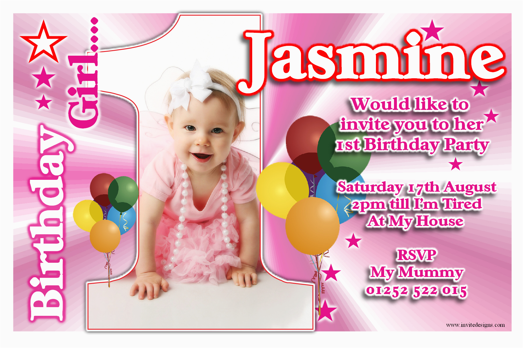 Online First Birthday Invitation Cards 1st Birthday Invitations Girl Free Template Personalised