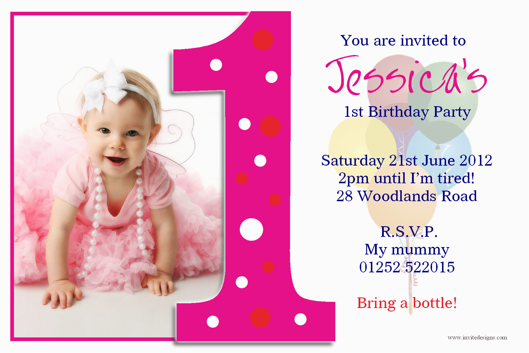 beautiful ideas first birthday invitation cards one years pink color template designing real picture baby girls