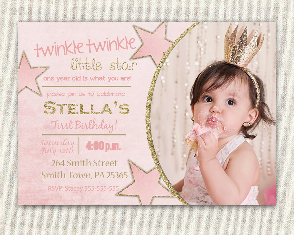 Online First Birthday Invitation Cards Gold And Pink Princess Invitations