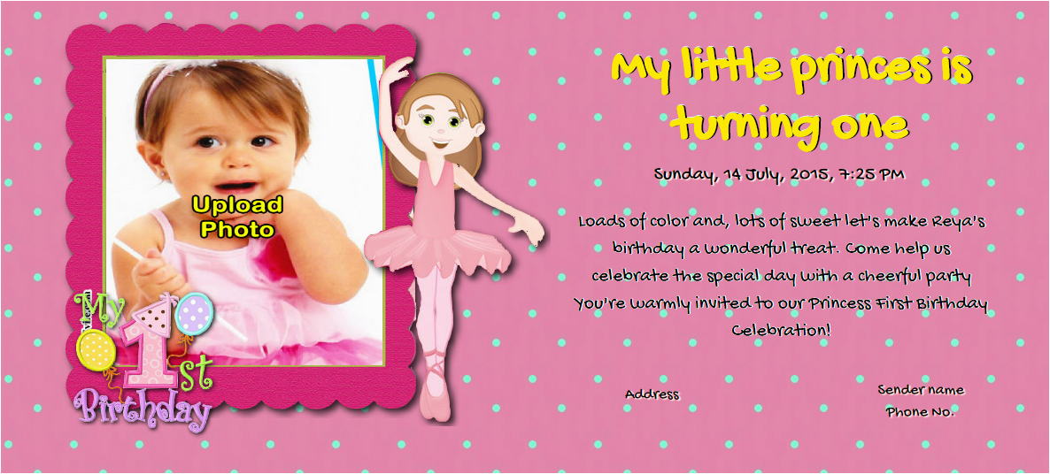 Online First Birthday Invitation Cards Free 1st Birthday Invitation Card Online Invitations
