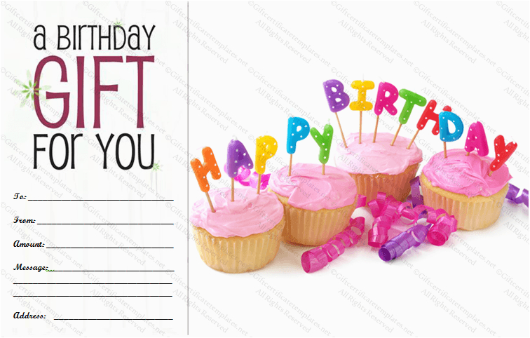 celebration birthday gift certificate template
