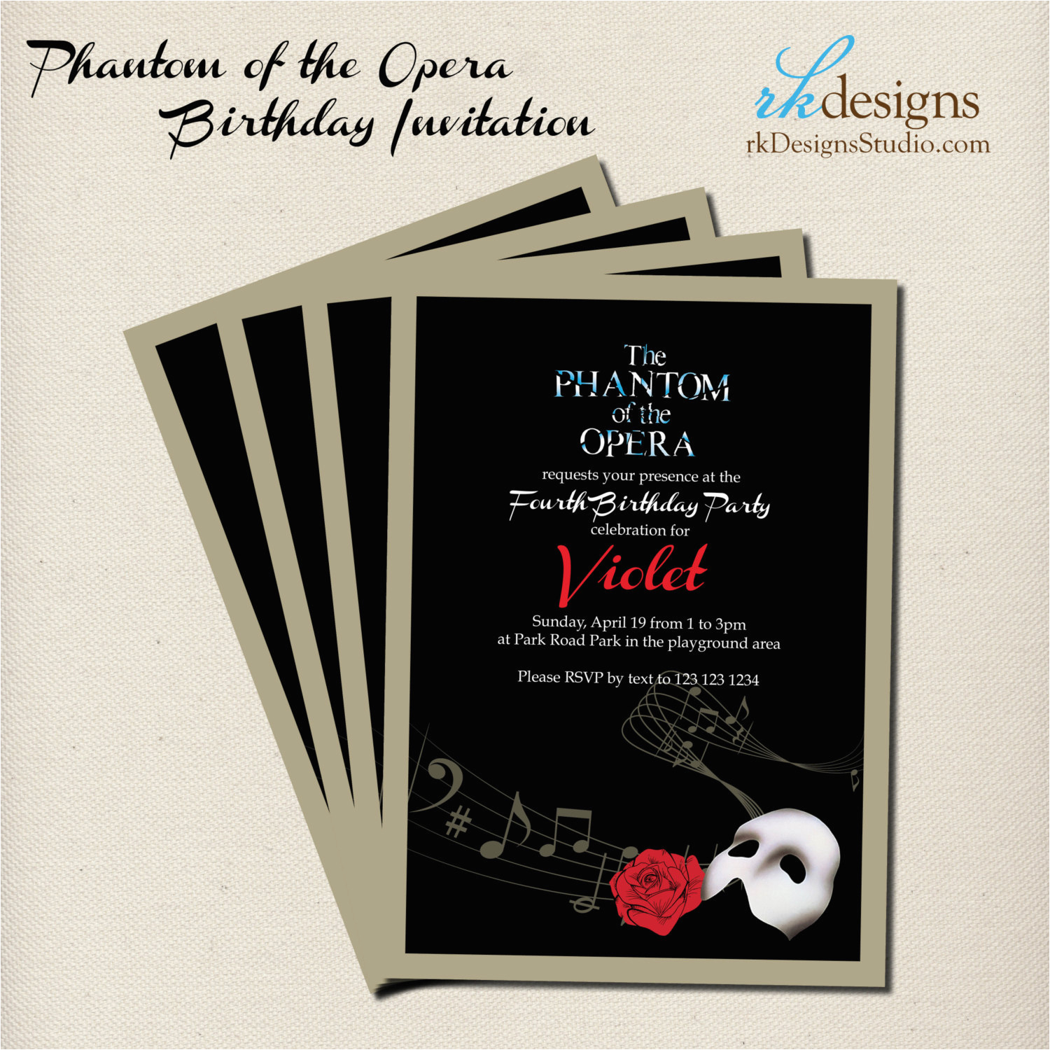 phantom of the opera party invitation and envelope