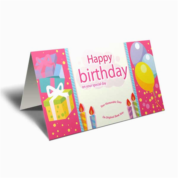6 birthday currency notes with greeting card