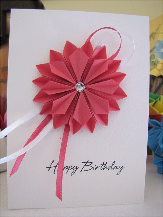 origami dahlia birthday card pink