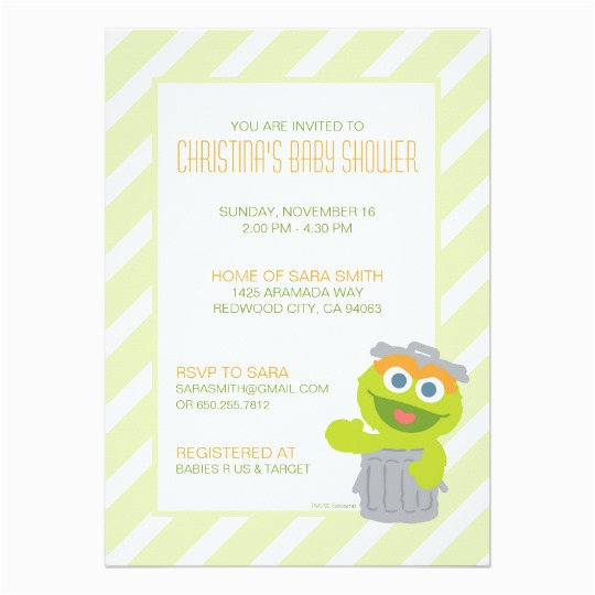 oscar the grouch baby shower invite 161091024988290371