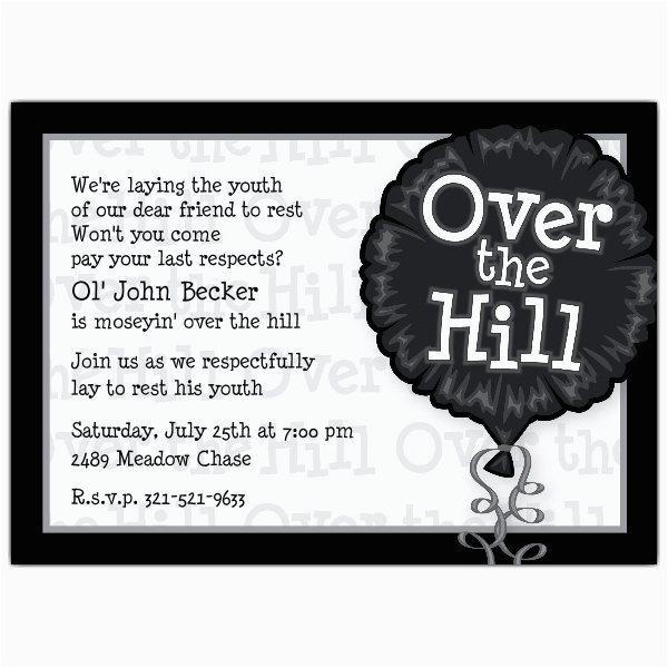 over the hill photo birthday invitations p 643 75 iv1279