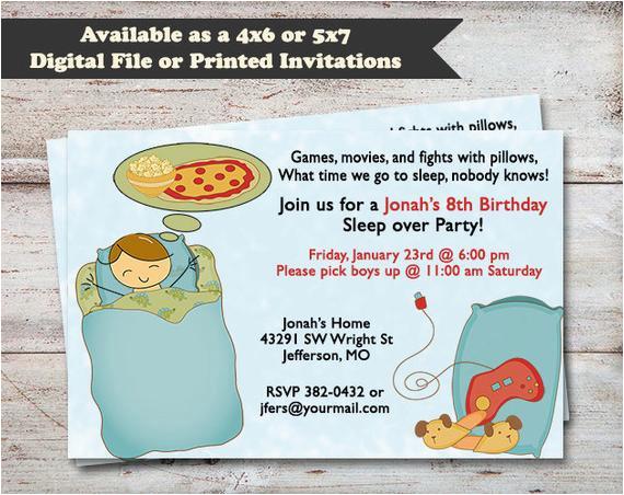 sleepover birthday party slumber party invitations
