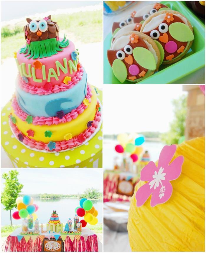 aloha owl 1st birthday party