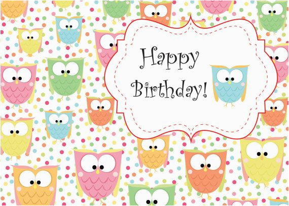 cute owl birthday printable card instant download