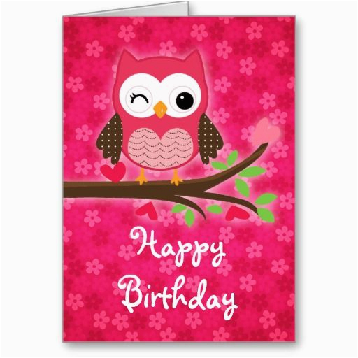 Owl Birthday Card Sayings Hot Pink Cute Owl Girly Happy Birthday Greeting Cards