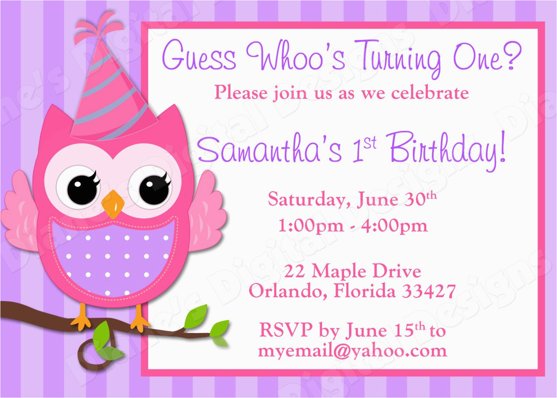 Owl Birthday Invitations Girl Children 39 S Owl Birthday Invitation Girl Design 3