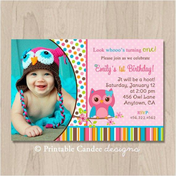 pink girl owl birthday invitation owl
