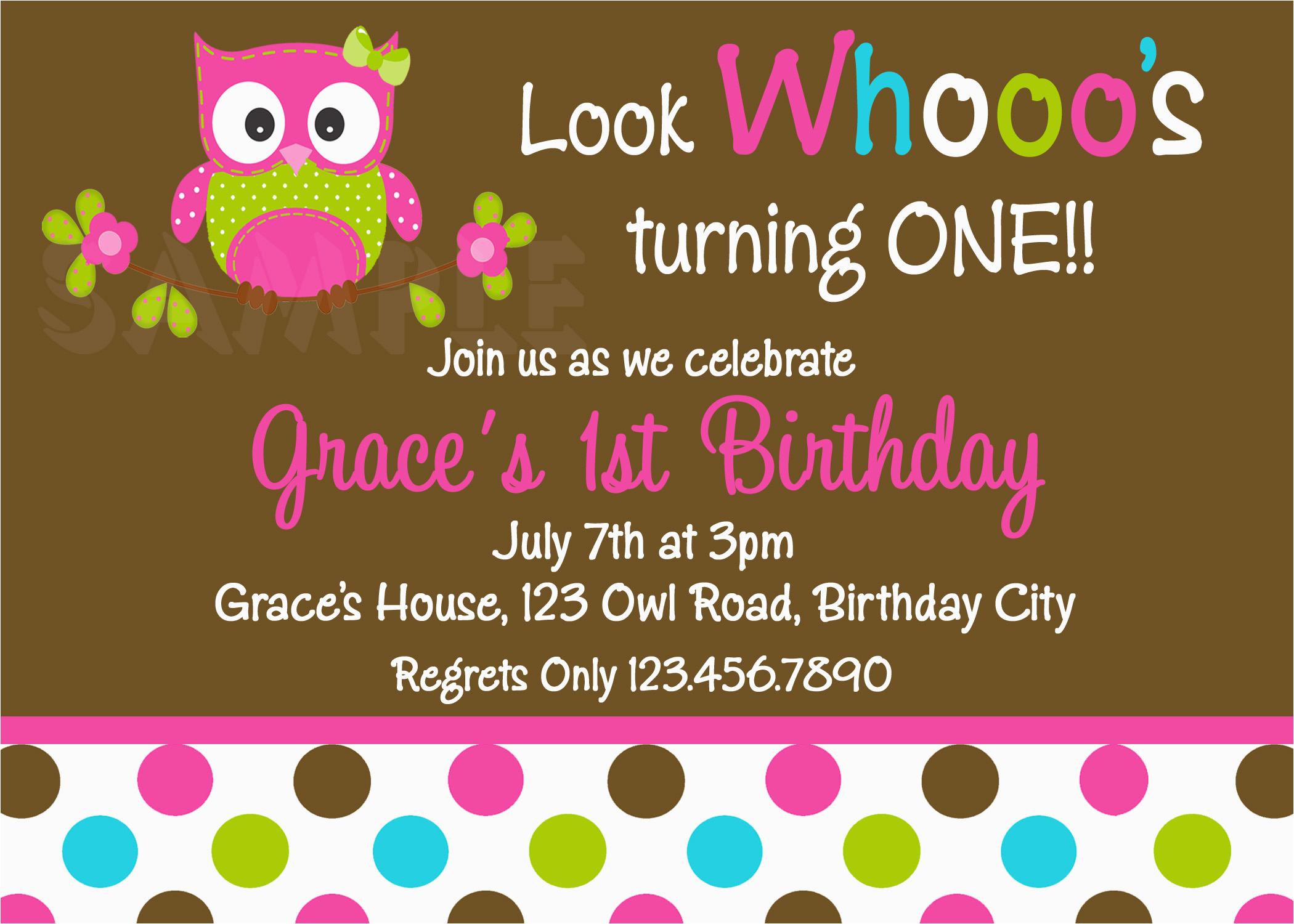 polka dots owl birthday invitation
