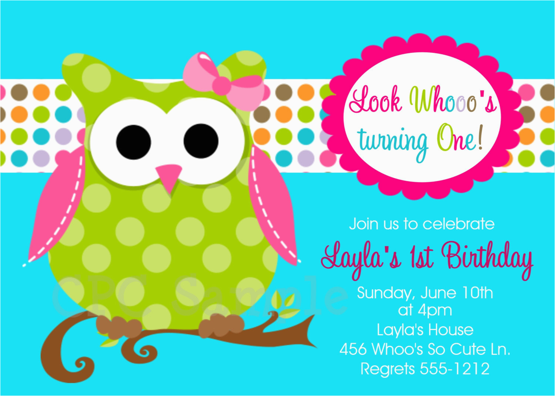 owl birthday invitations printable or