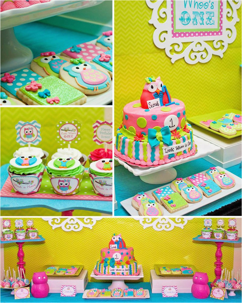 Owl First Birthday Decorations Party Look Whoo 39 S Turning Printable