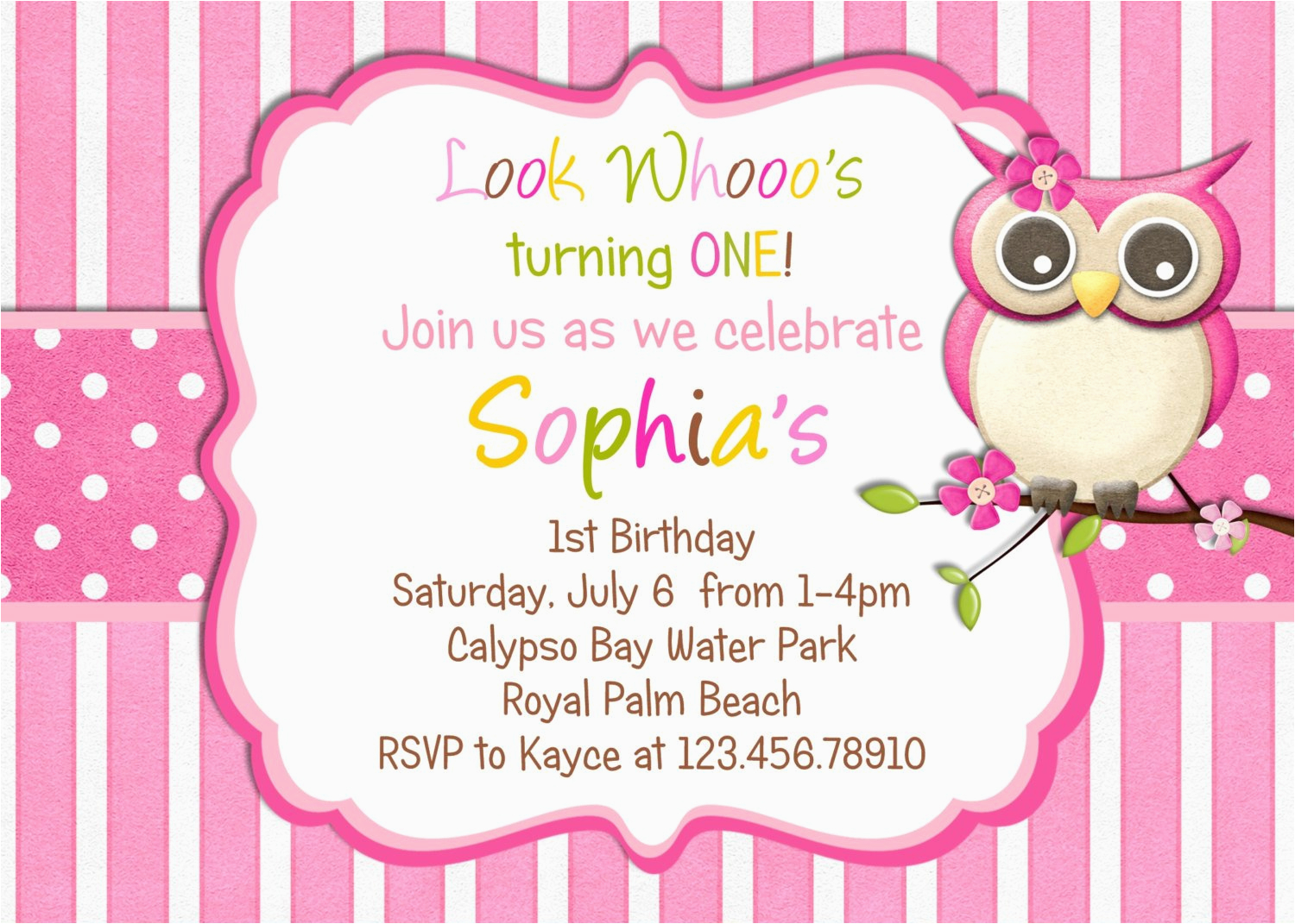 Owl themed Birthday Invitations Little Owl Birthday Invitation Pink Girl Owl theme by