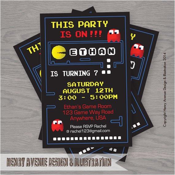 Pac Man Birthday Invitations Items Similar To Pacman Birthday