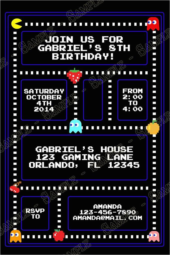 Pac Man Birthday Invitations Novel Concept Designs Pac Man Birthday Party Invitation