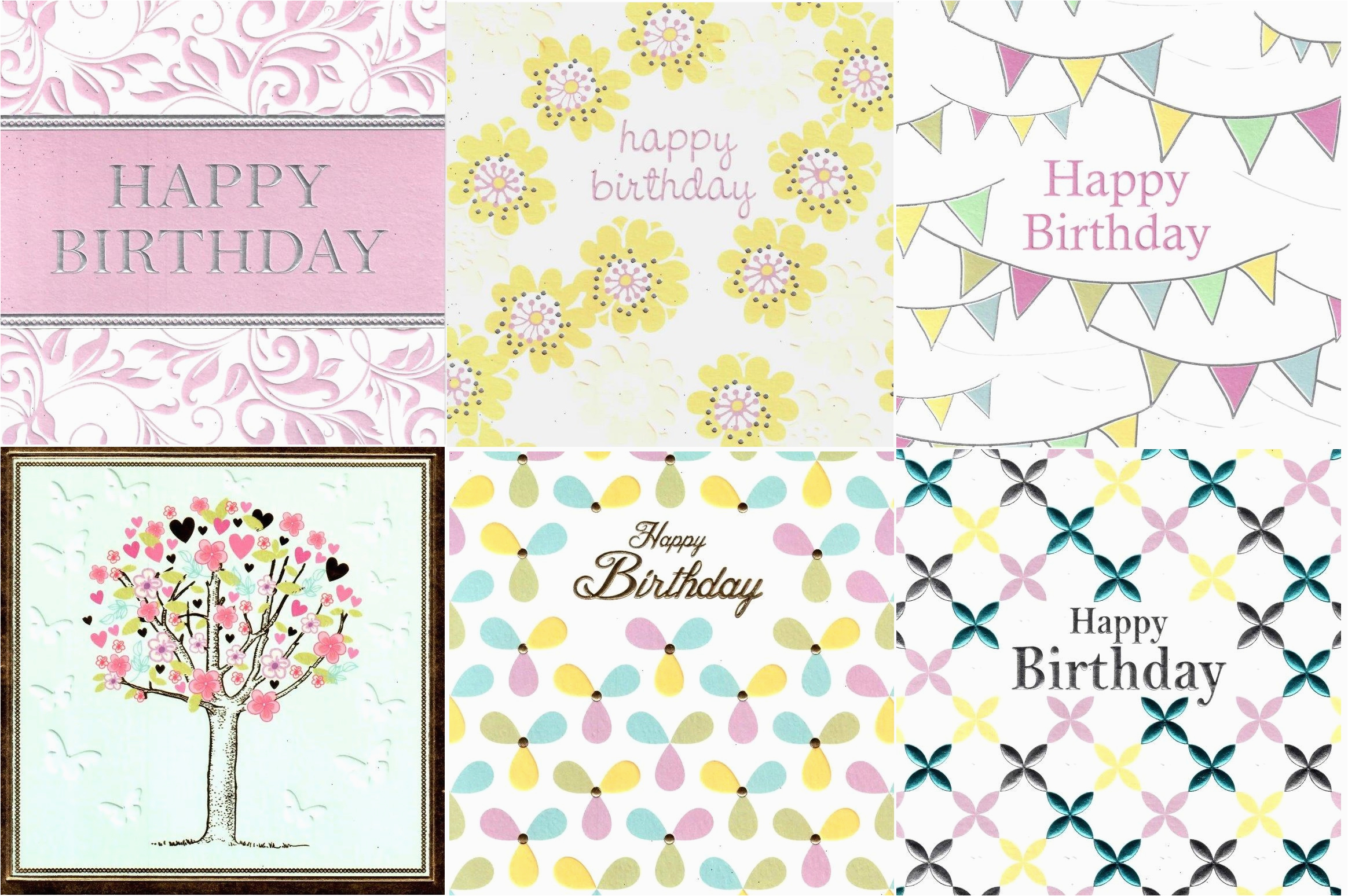 assorted pack of 6 pretty birthday greeting cards cards