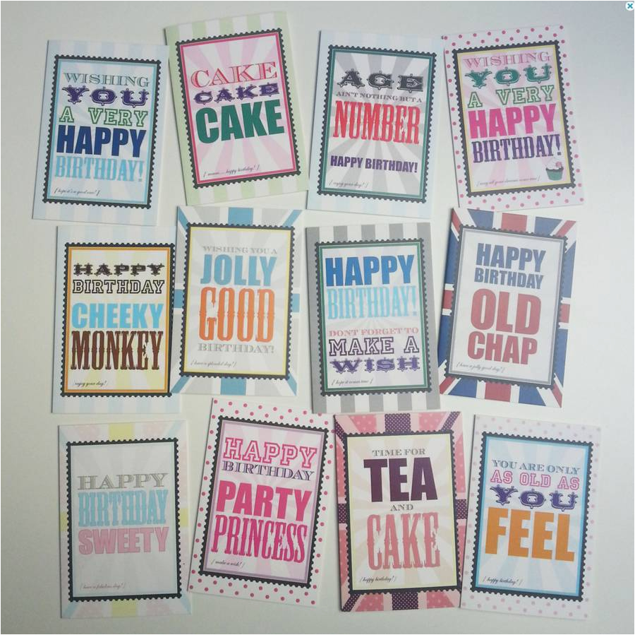 pack of 12 assorted birthday cards by dimitria jordan