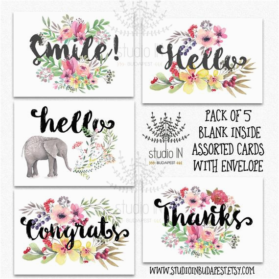 pack of 5 assorted card note cards card set thank you card
