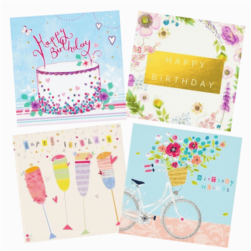 female birthday card pack 4 cards per pack 6412 p