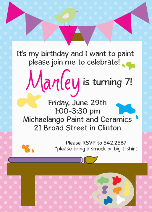 Painting Birthday Party Invitation Wording Personalized Invitations