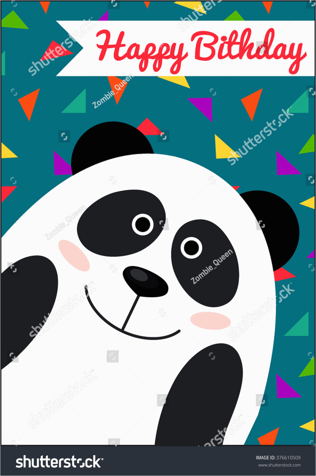 happy birthday card panda template 376610509
