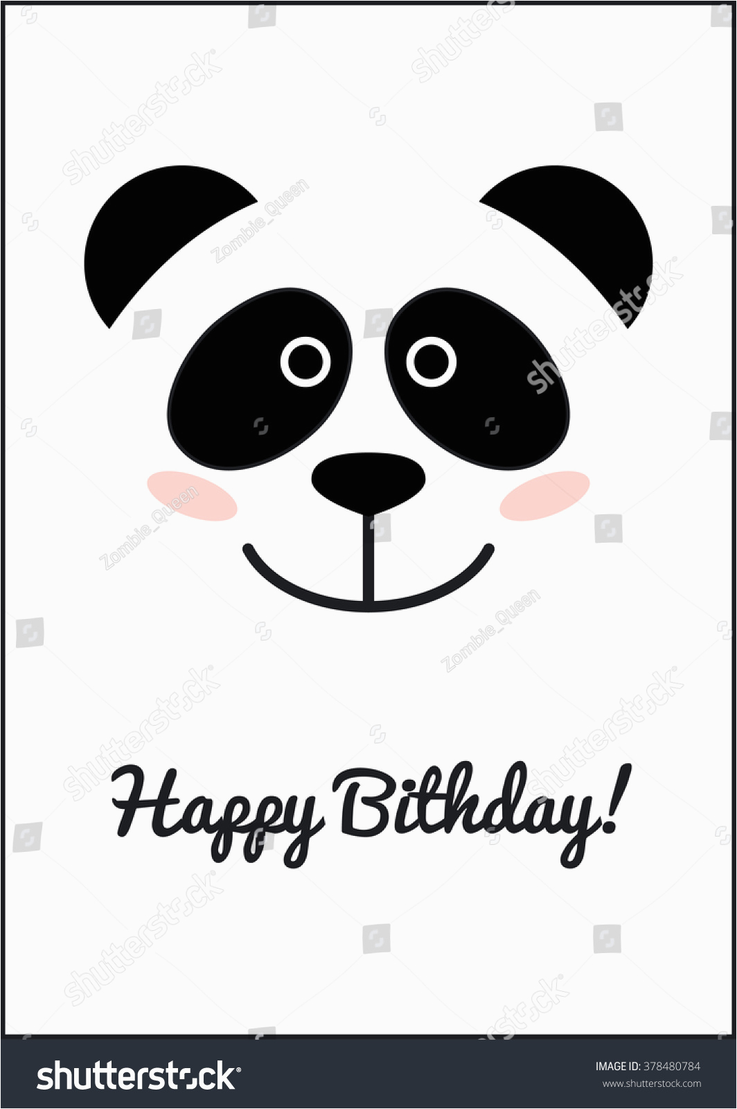 stock vector panda face birthday card template cute design cute vector panda vector animals