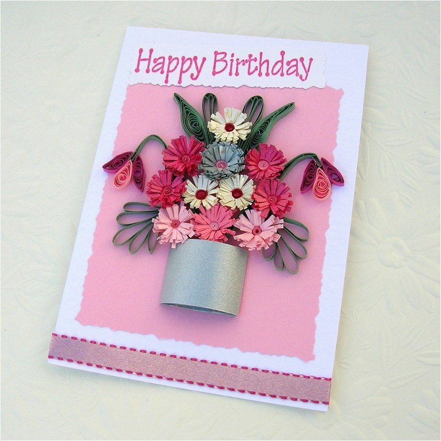 paper quilling greeting card paper quilled silver pot of pink