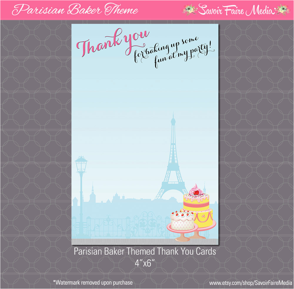 Paris themed Birthday Cards Paris Bakery themed Party Thank You Card French Birthday
