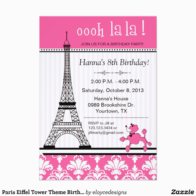 paris eiffel tower theme birthday party pink card 161824293457863015