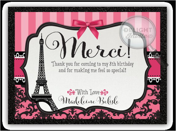 paris themed birthday thank you cards p 3467