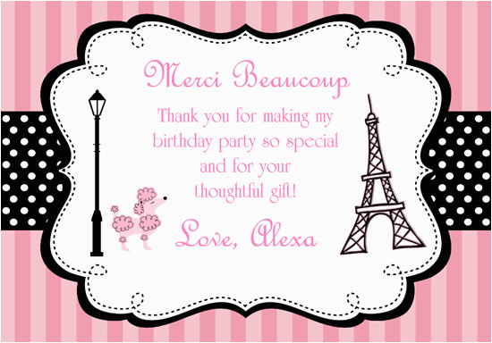 parisian themed thank you cards