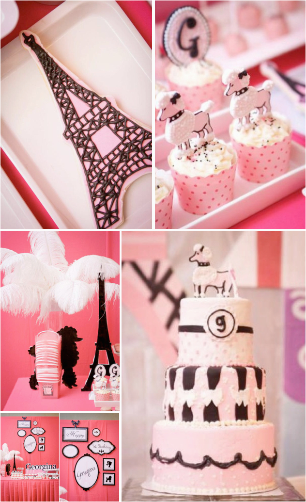 poodle in paris themed 1st birthday party