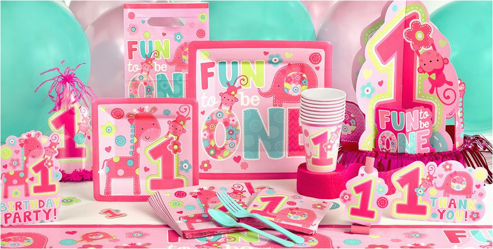 Party City 1st Birthday Decorations Wild At One Girl 39 S Supplies