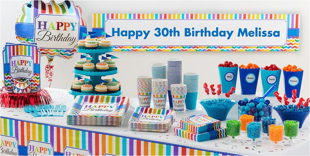 Party City Birthday Decoration Rainbow Chevron Supplies Adult