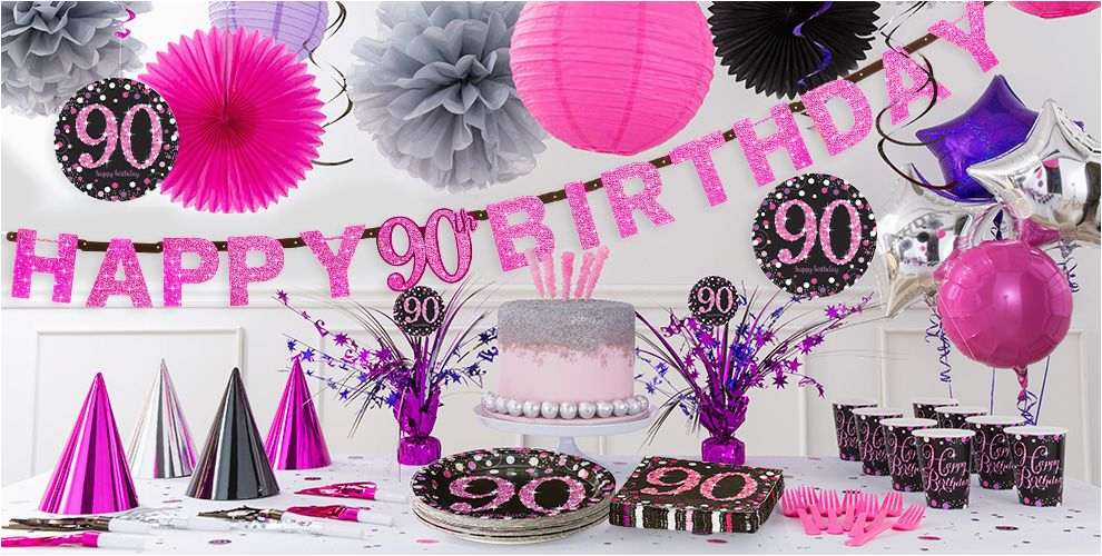 pink sparkling celebration 90th birthday party supplies do