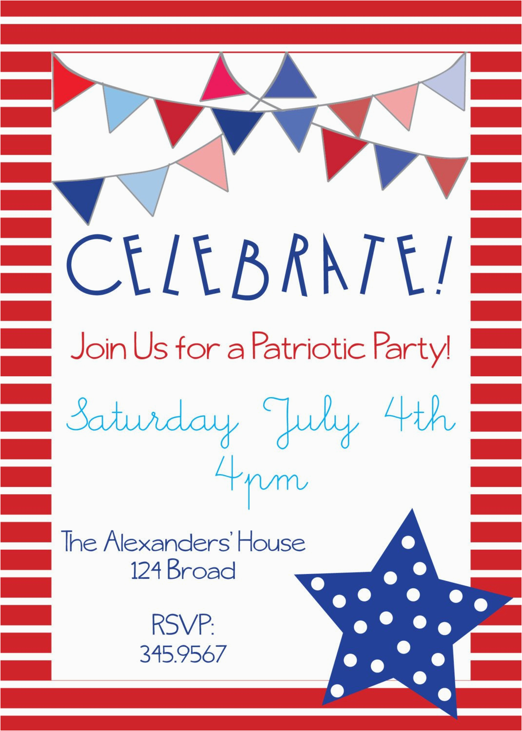 Patriotic Birthday Invitations Party For Memorial Day 4th Of July Or