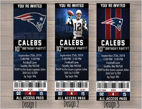new england patriots custom party ticket invitations