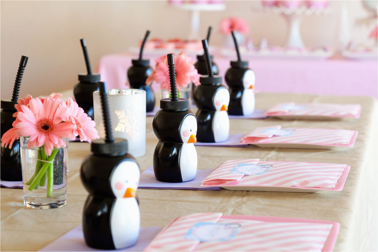 pink and purple penguin party