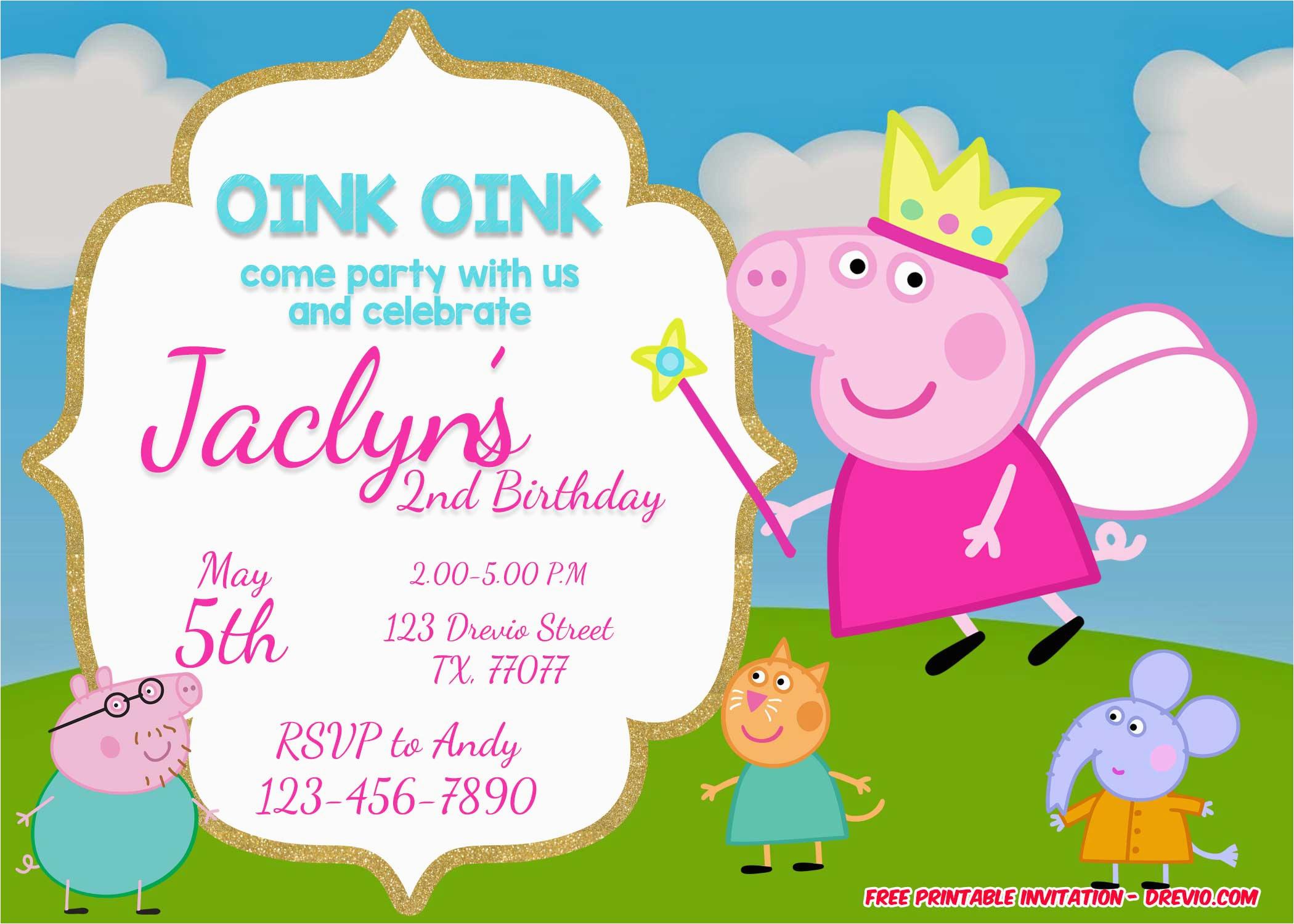Peppa Pig Birthday Invites Free Printable Invitation Templates Bagvania