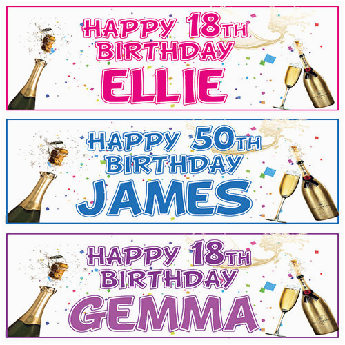 Personalised 18th Birthday Decorations 2 Banners 21st 30th 40th 50th
