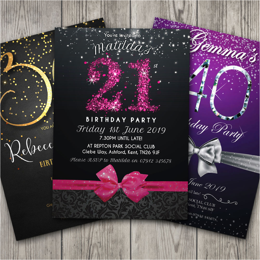Personalised 18th Birthday Decorations Invitations Party Invites 21st