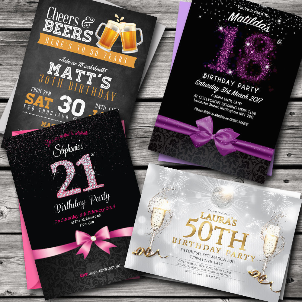 birthday invitations party invites personalised 18th 21st 30th 191722312556