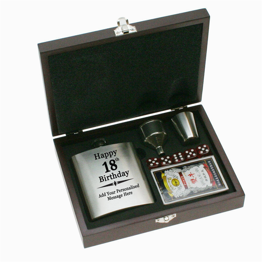 Personalised 18th Birthday Gifts For Her Engraved Hip Flask Design Gift Set By