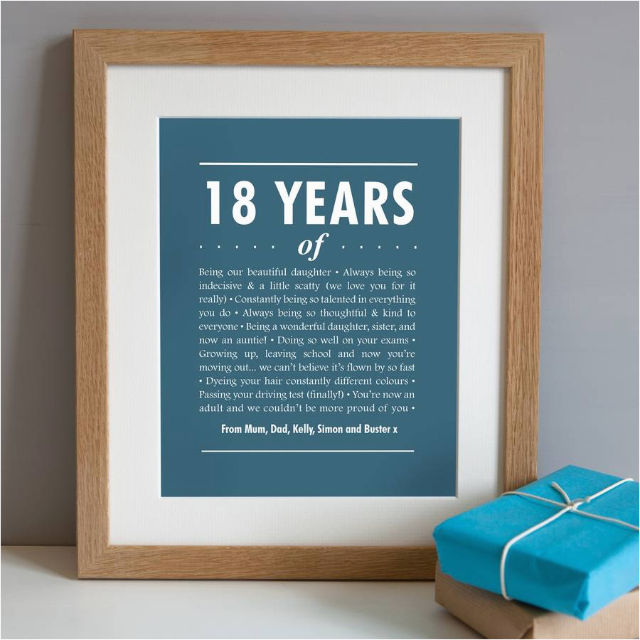 Personalised 18th Birthday Gifts for Her Personalised 18th Birthday Print by Elephant Grey