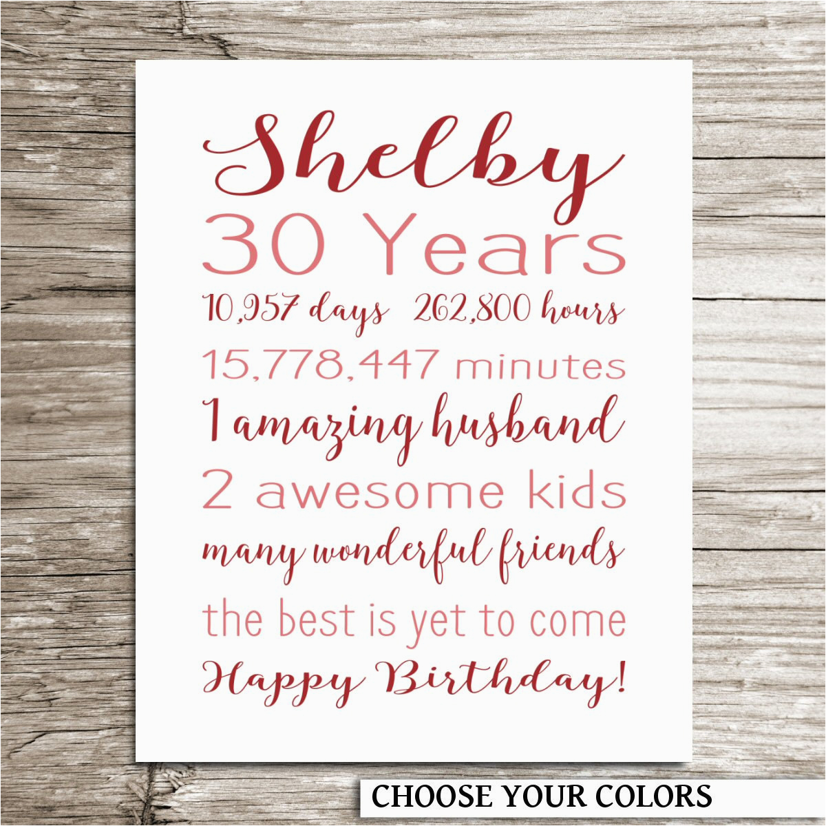30th birthday gift birthday sign personalized print for her