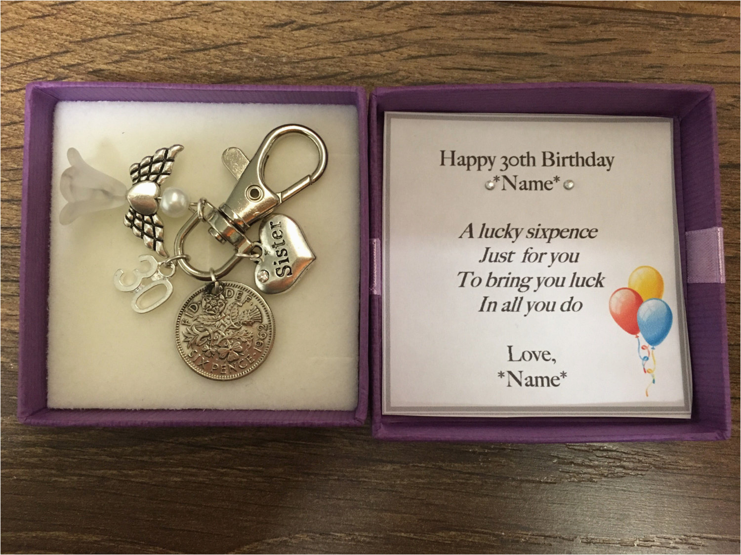 Personalised 30th Birthday Gifts For Her Gift Lucky Sixpence Keyring Handbag