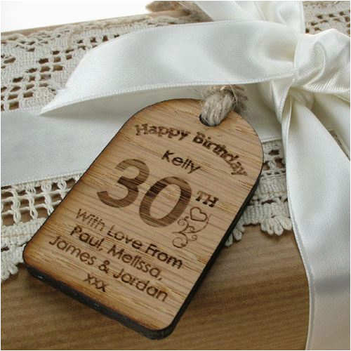 personalised 30th birthday gift tag unusual engraved